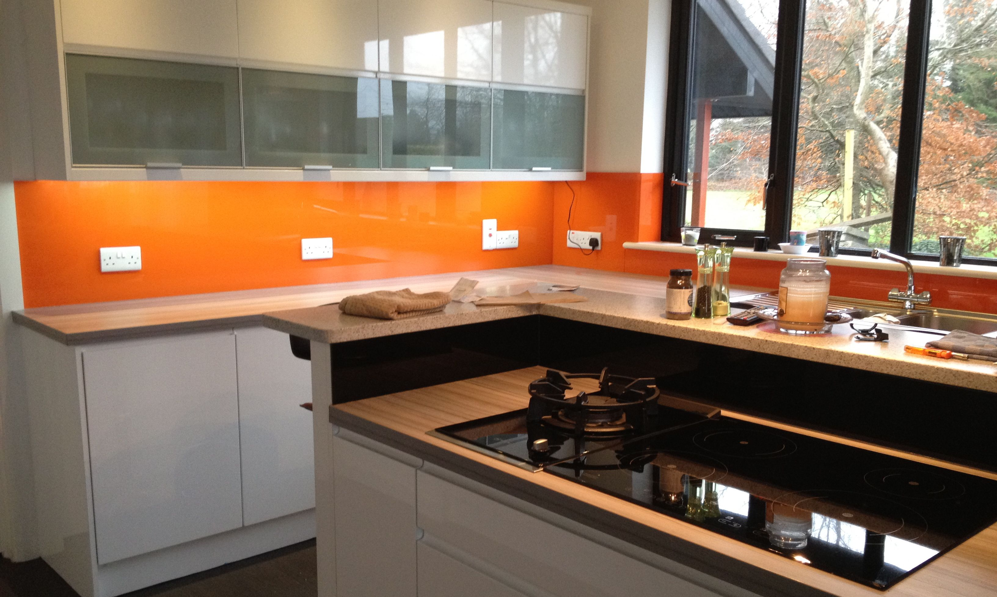 Pure Orange Glass Kitchen Splashback Comes With Cutouts For Sockets