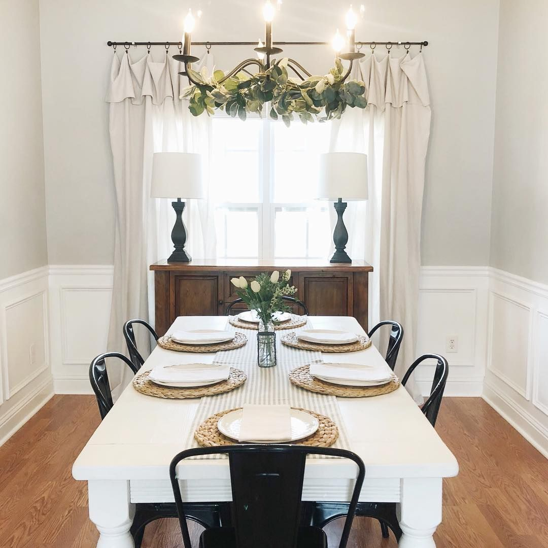 Diy Drop Cloth Curtains White Farmhouse Table Black Metal Chair Greenery In Chandelier By Dining Room Curtains White Farmhouse Table Farmhouse Dining Room