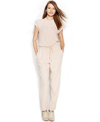 Calvin Klein Straight Leg Cap Sleeve Jumpsuit Jumpsuits Rompers