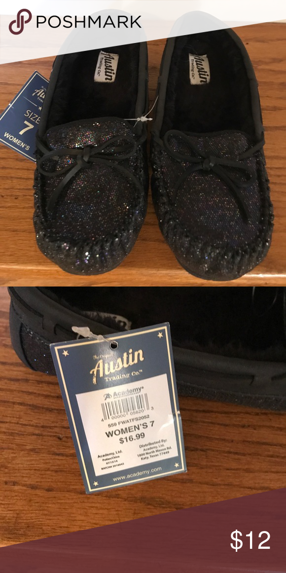 Black Iridescent Moccasin House Shoes