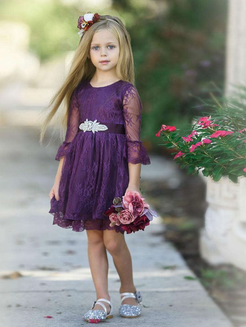 Flower girl lace dress plum eggplant lace flower girl