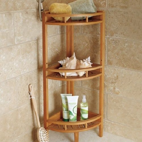 Teak 3 Tier Corner Shower Bathroom Caddy Storage Shelf Stand Shower Corner Shelf Teak Shower Shelf Shelves