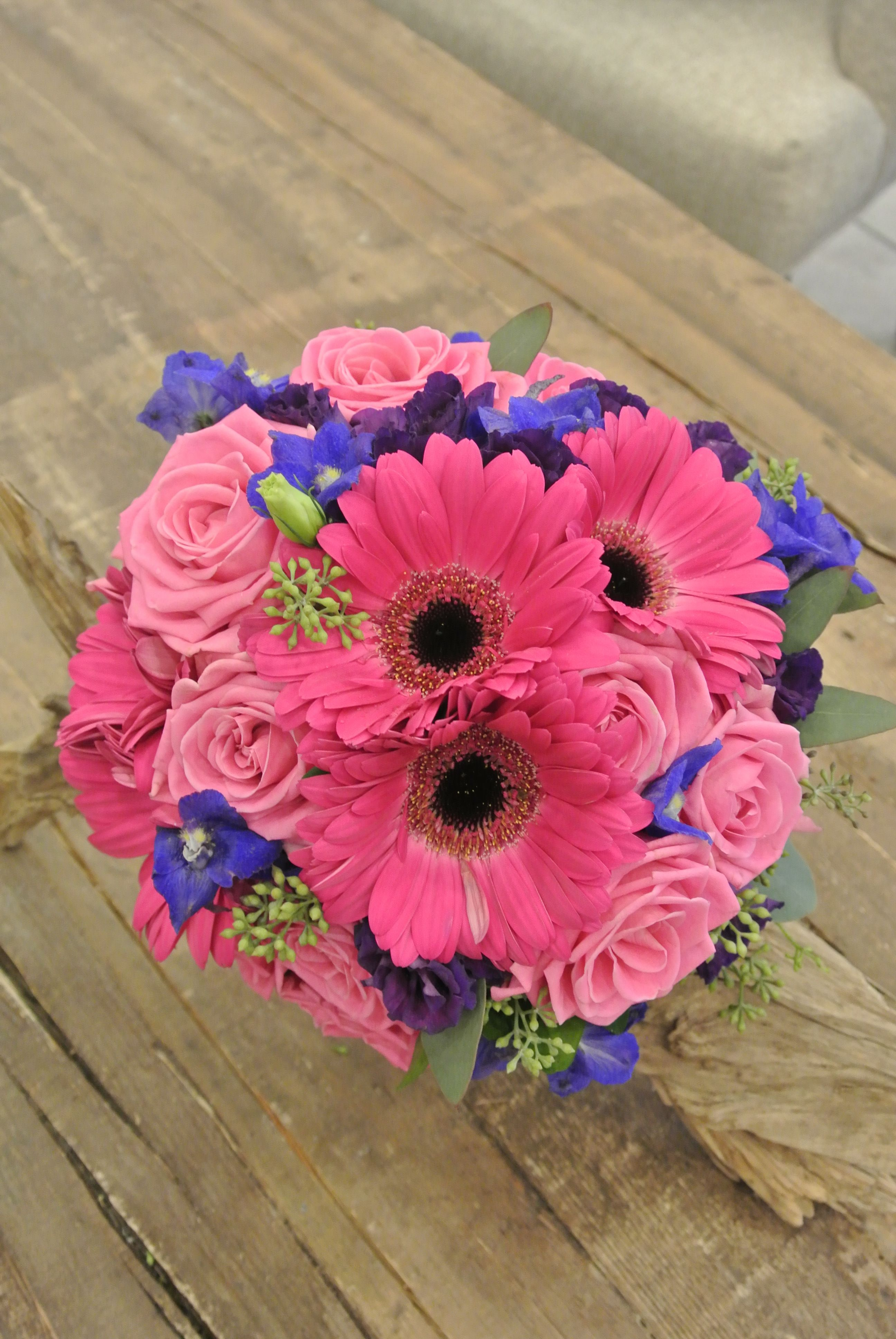Pink & Blue bridal bouquet with gerbera daisy,delphinium