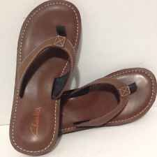 8eefcb2df NEW Clarks Womens Roxanna Brown Leather Flip Flops Sandals Shoes 72362 size  7 M