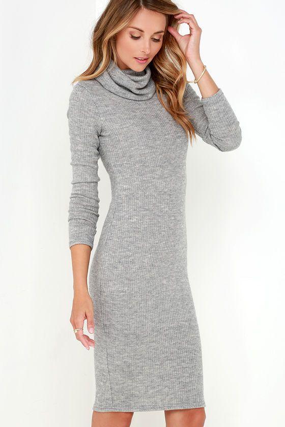 vestido gris ajustado cuello alto bufanda. vestido golossina.com ...