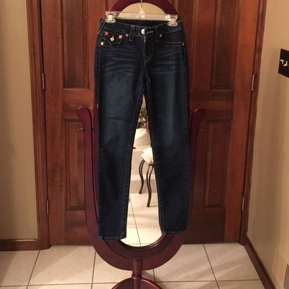 True Religion Jeans Dark wash True Religion jeans in perfect condition. Barely worn and price is negotiable! :) True Religion Jeans