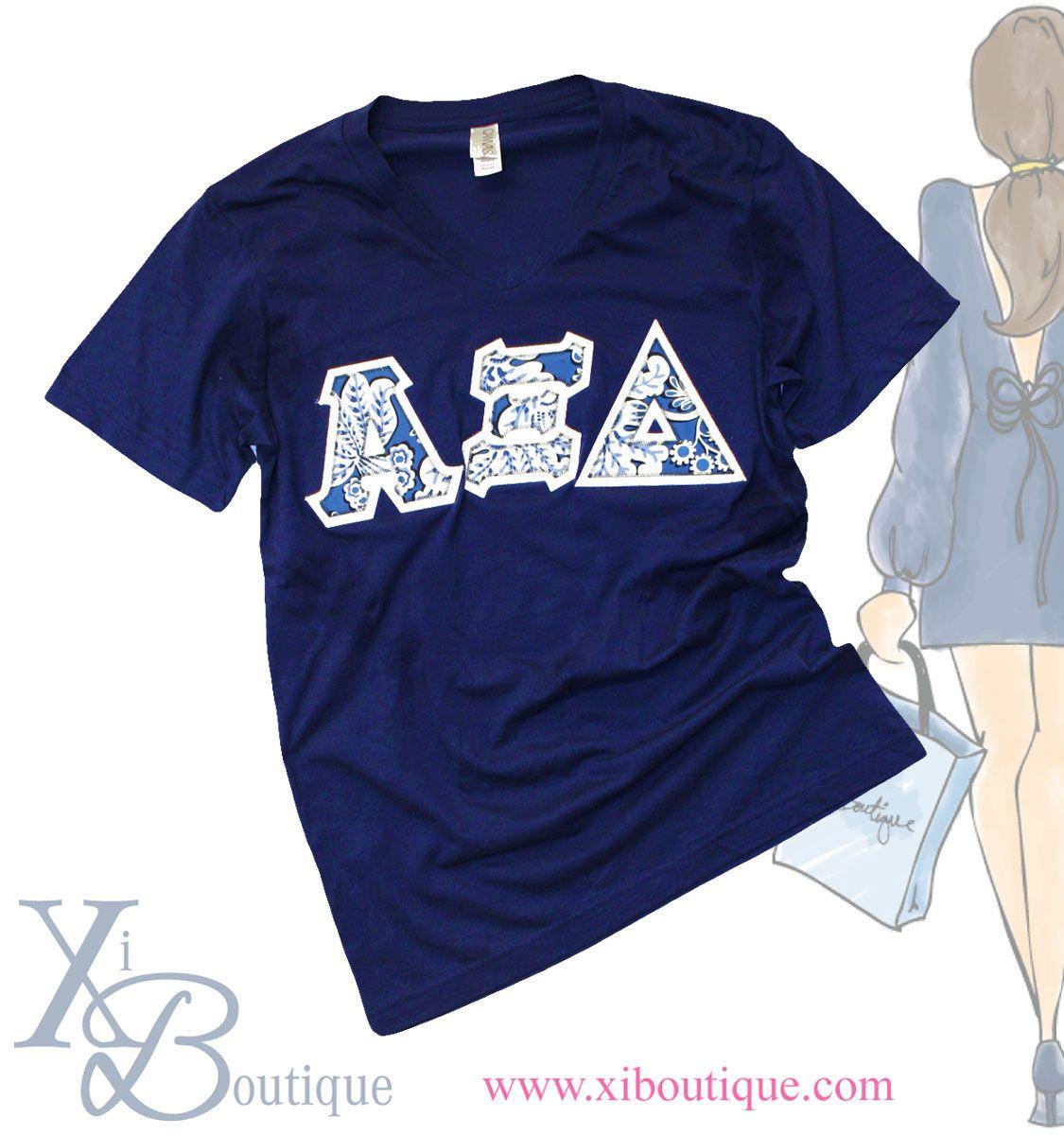 vera bradley blue lagoon print stitch letter alpha xi delta t shirt xiboutiquecom