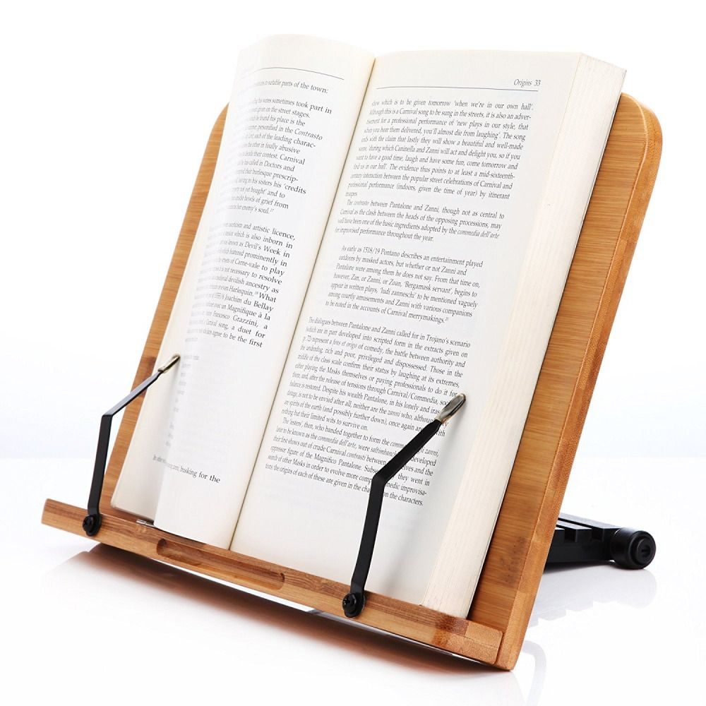 Cook book stand reading document bamboo holder adjustable