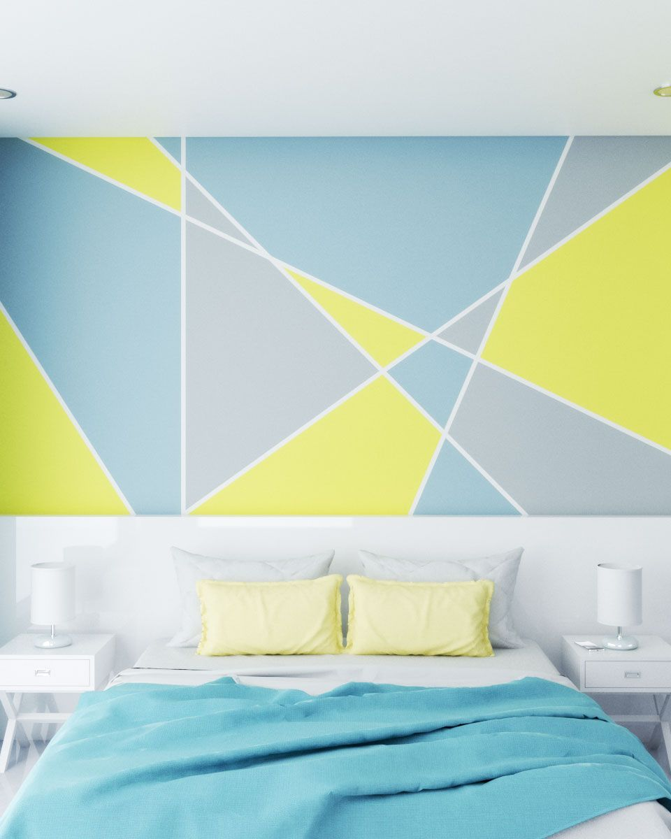 Colorful Yellow And Blue Geometric Style Wall Paint Ideas Geometric Wall Paint Room Wall Colors Wall Paint Patterns