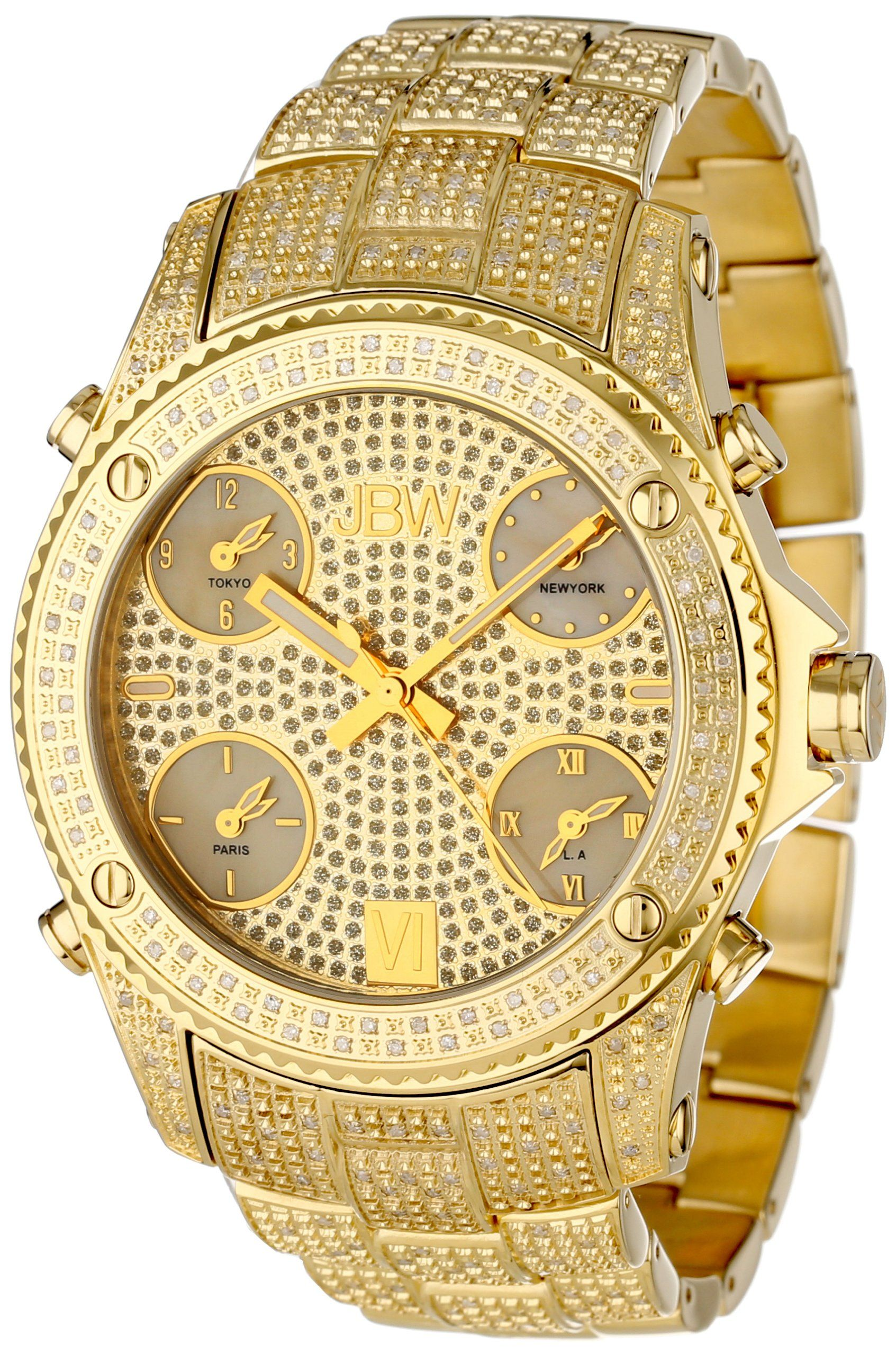 Jbw Men S Jb 6213 A Jet Setter Gold Five Time Zone Diamond Watch