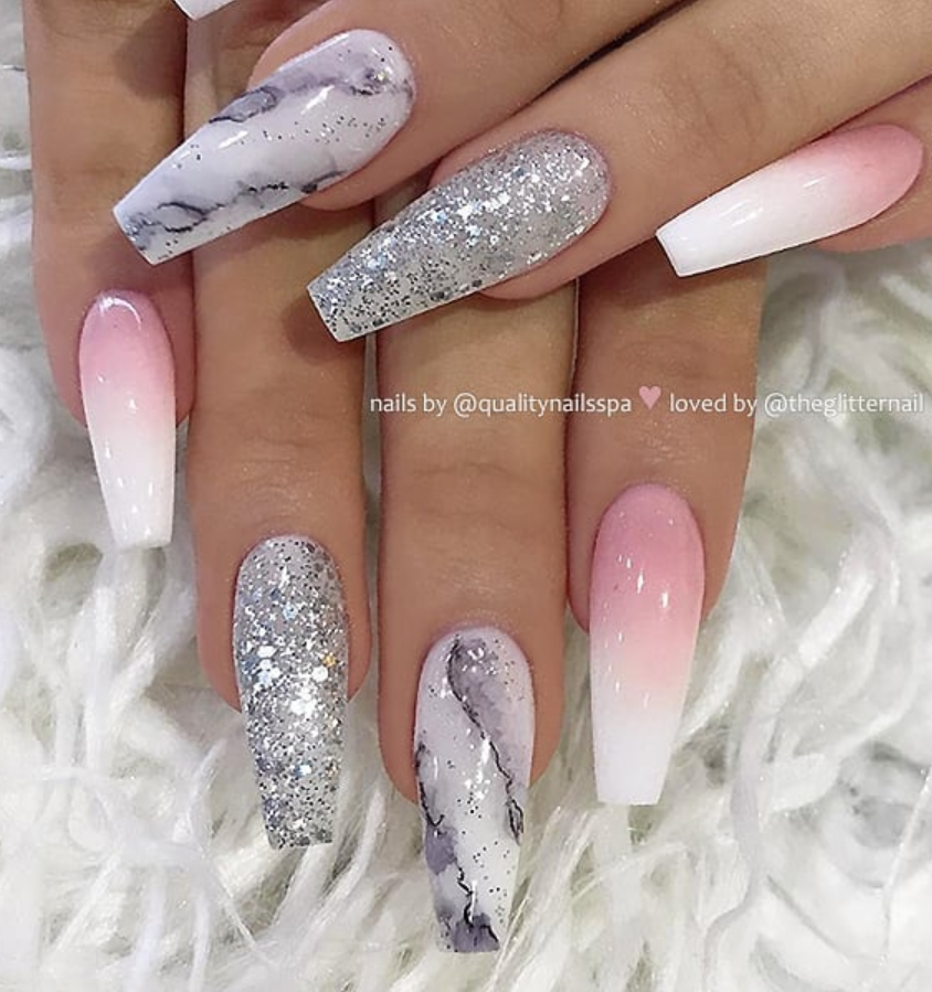 50 Pretty French Pink Ombre And Glitter On Long Acrylic Coffin Nails Design Page 27 Of 53 Latest Fashion Trends For Woman Pink Ombre Nails Graduation Nails Pink Glitter Nails