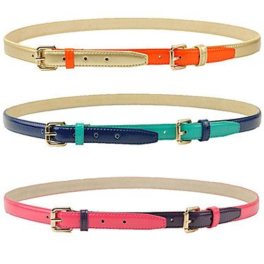 Women's Candy COLor Contrast COLor Layered Leather Belt