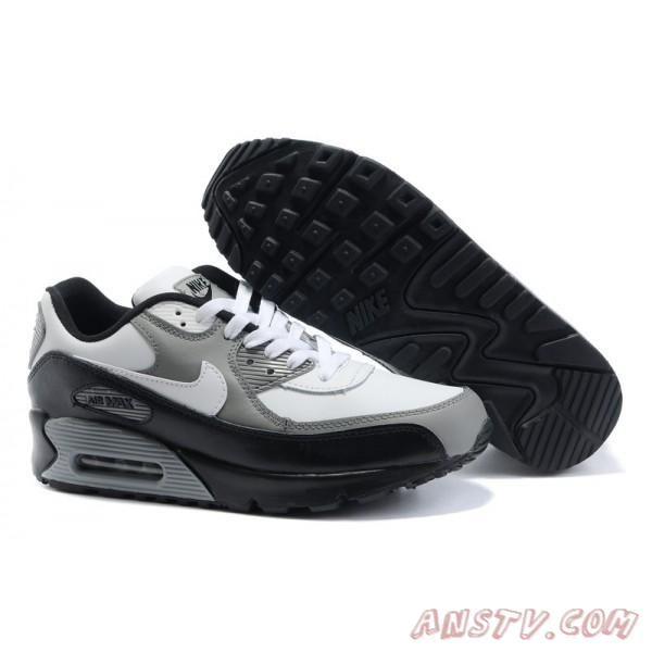 de nouveaux styles venant Hommes Gris / Noir / Blanc Nike Air Max 90 Chaussures Air Max Femme