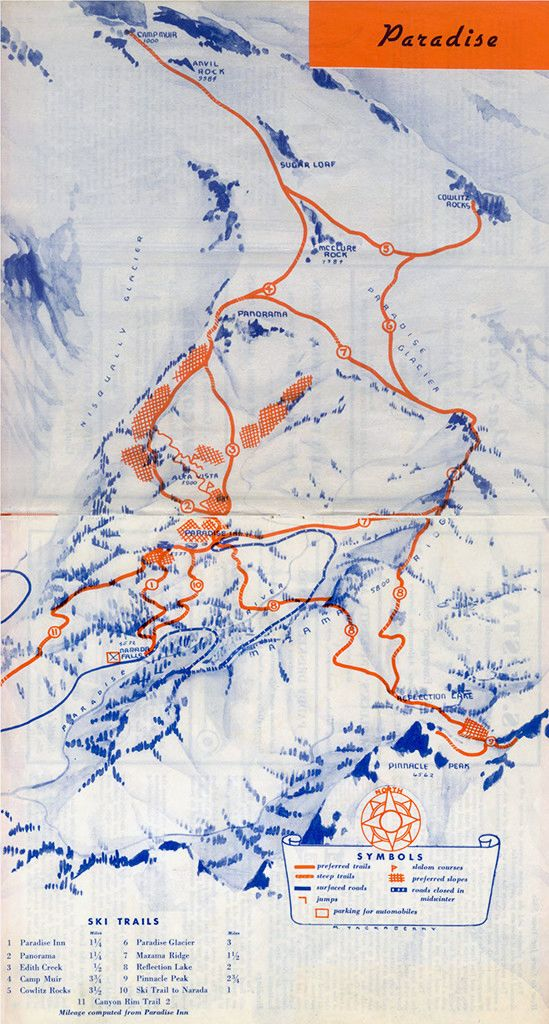 Ski Map For The Now Defunct Paradise Ski Area On Mount Rainier In