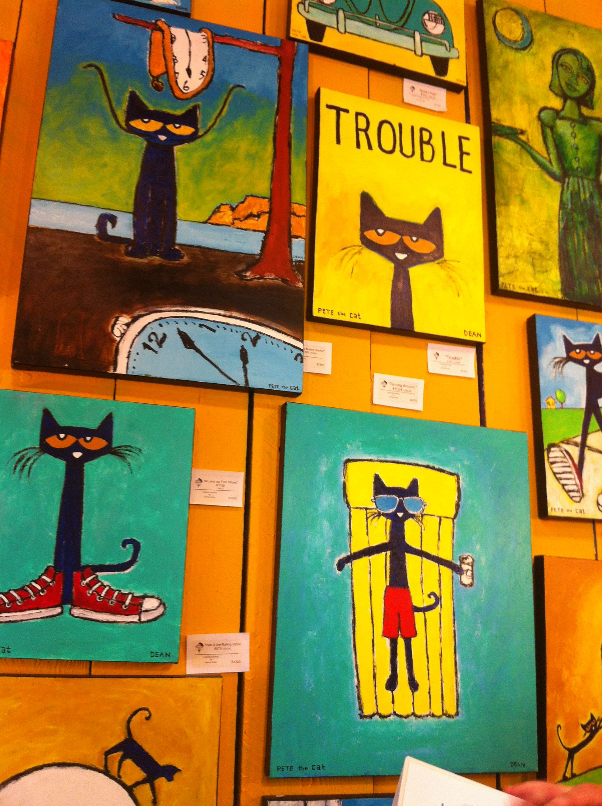 Pete The Cat At The Coolest Art Gallery In Savannah Ga At Hun Art Gallery Pete The Cat Cat Painting Cats Illustration