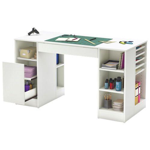 Table De Travail De La Collection Crea De South Shore 7550727 Blanc Pur Craft Table Craft Desk White Childrens Furniture