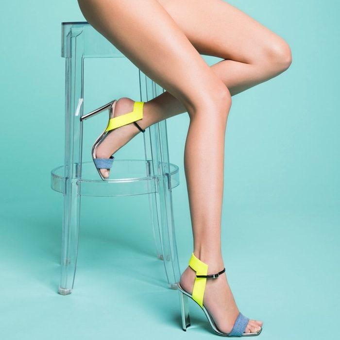 Giuseppe Zanotti Blue denim and leather sandal with chunky mirrored heel BRIELLE EKHjzIxeHE