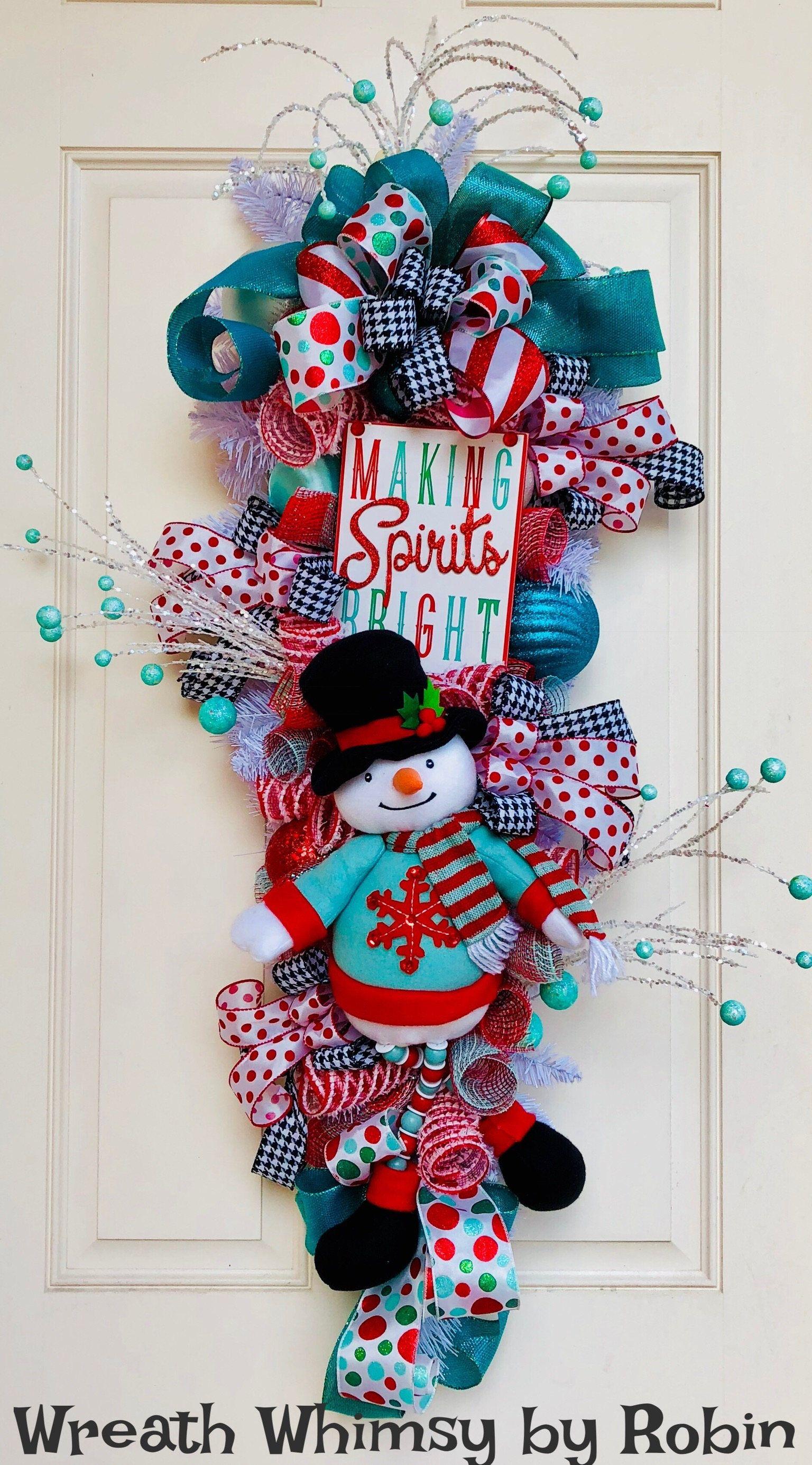 Snowman Teardrop Swag in Red & Teal, Snowman Wreath, Door Wreath, Christmas  Wreath
