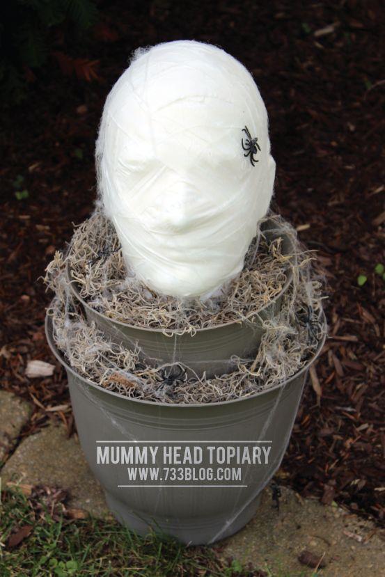 DIY Foam Head Mummy Topiary Topiary, Halloween diy and Halloween fun - scary diy halloween decorations