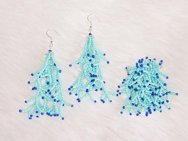Turqoise coral shape earrings & broochset by enlora on Etsy