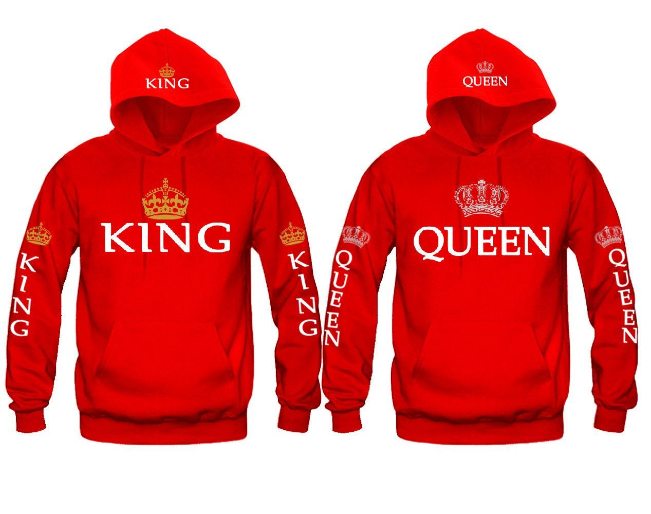 767f6d566ac21d King and Queen Silver and Gold Crowns FULLY LOADED - Sleeves and Hood  Prints Unisex Couple Matching Hoodies