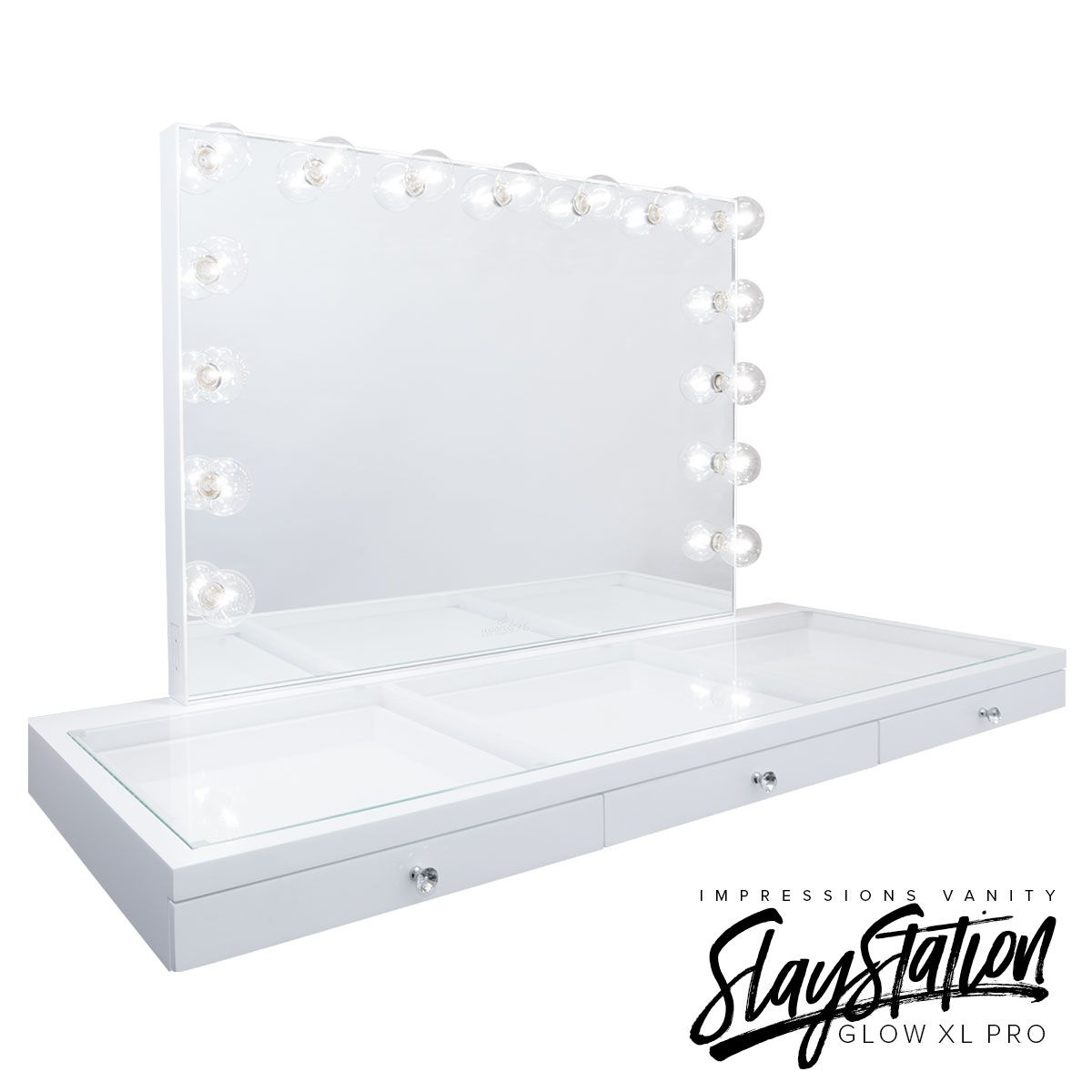 Impressions Vanity Glow XL Pro SlayStation. Also available as a table top without the Glow XL Pro Vanity Mirror.