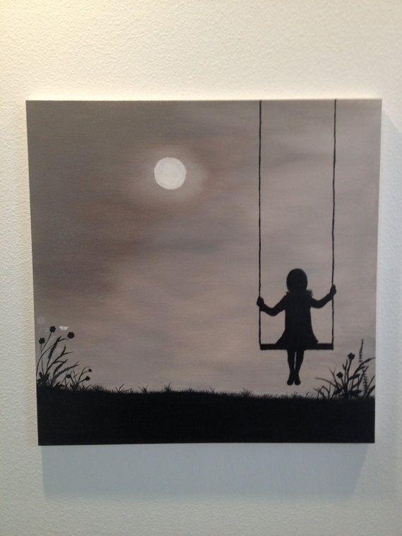Fille Sur La Balançoire En Regardant La Lune Silhouette