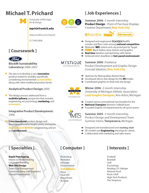 Resume by Michael T Prichard at Coroflot Design Resumes - product design resume