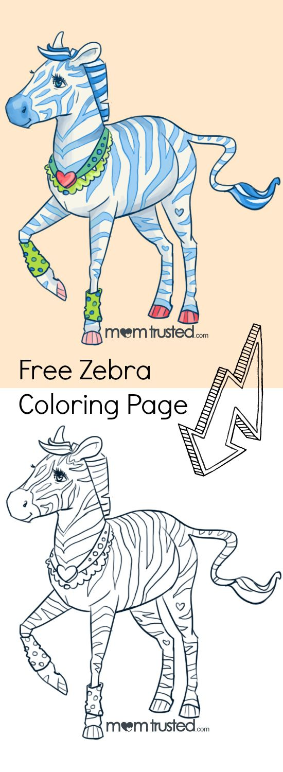 Free zebra coloring page ... perfect for a cute valentine project or ...