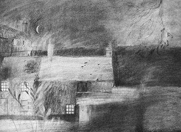 Rachel Larkins: 'Moonlight at St. Michael's' (Charcoal & ink on paper)