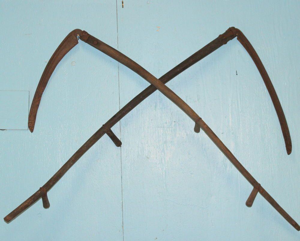 2 Antique Hay Sickle Scythe Country Farm Barn Tool Primitive
