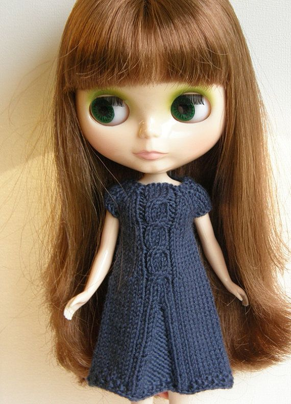Light Navy Handknitted Cable Pleated Dress for by Joanneperry, $20.00