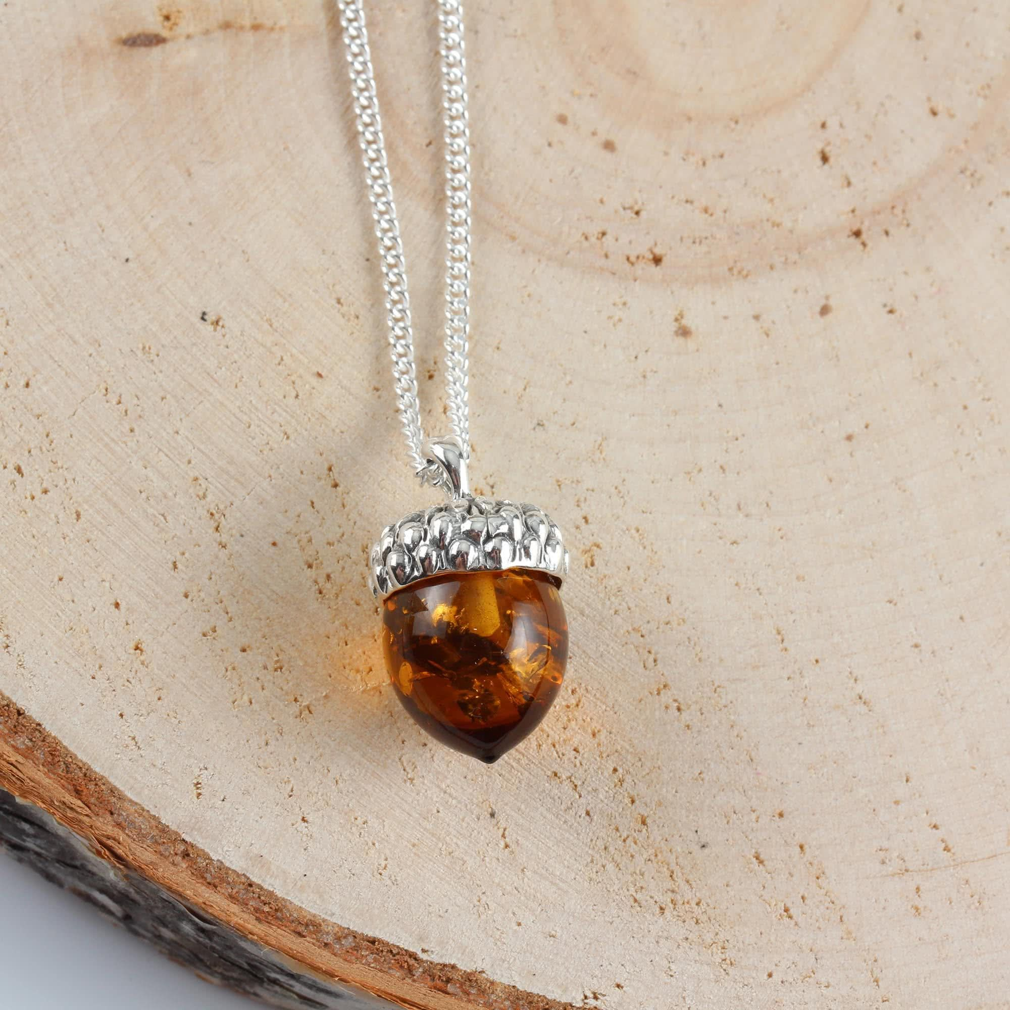 6fd940804 Baltic Amber Acorn Pendant Sterling Silver   Pearl shape design ...