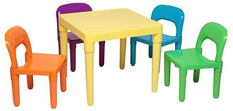 Color Plastic Children S Tables And Chairs Package Includes One X Table Four X Chairs Can Be Used For Ga In 2020 Colorful Chairs Kids Activity Table Playroom Furniture