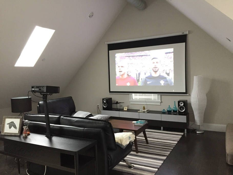 Living Room Theater Projector And 100 Pull Down Screen Perfect For A Low Key Movie Night Living Room Theaters Media Room Design Snug Room