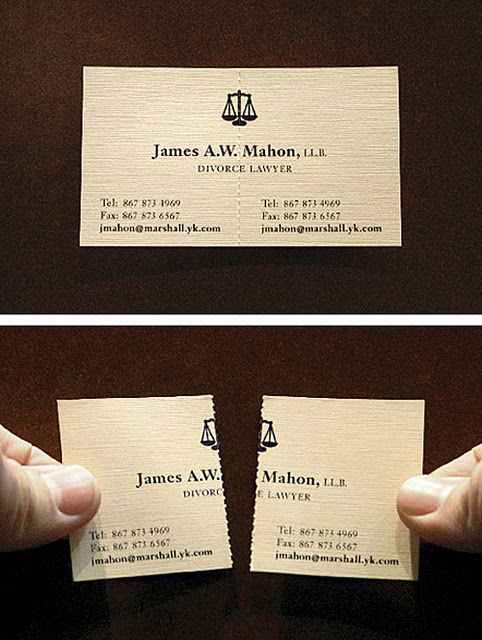Divorce Attorney S Business Card But A Neat Idea For Sharing Information