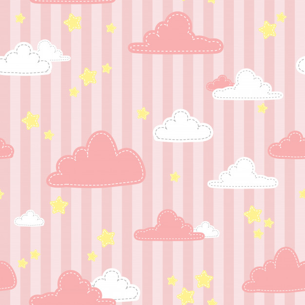 Cute Pink Stripe Sky And Cloud Cartoon Doodle Seamless Pattern Cute Pink Background Pink Clouds Wallpaper Pink Clouds Sky