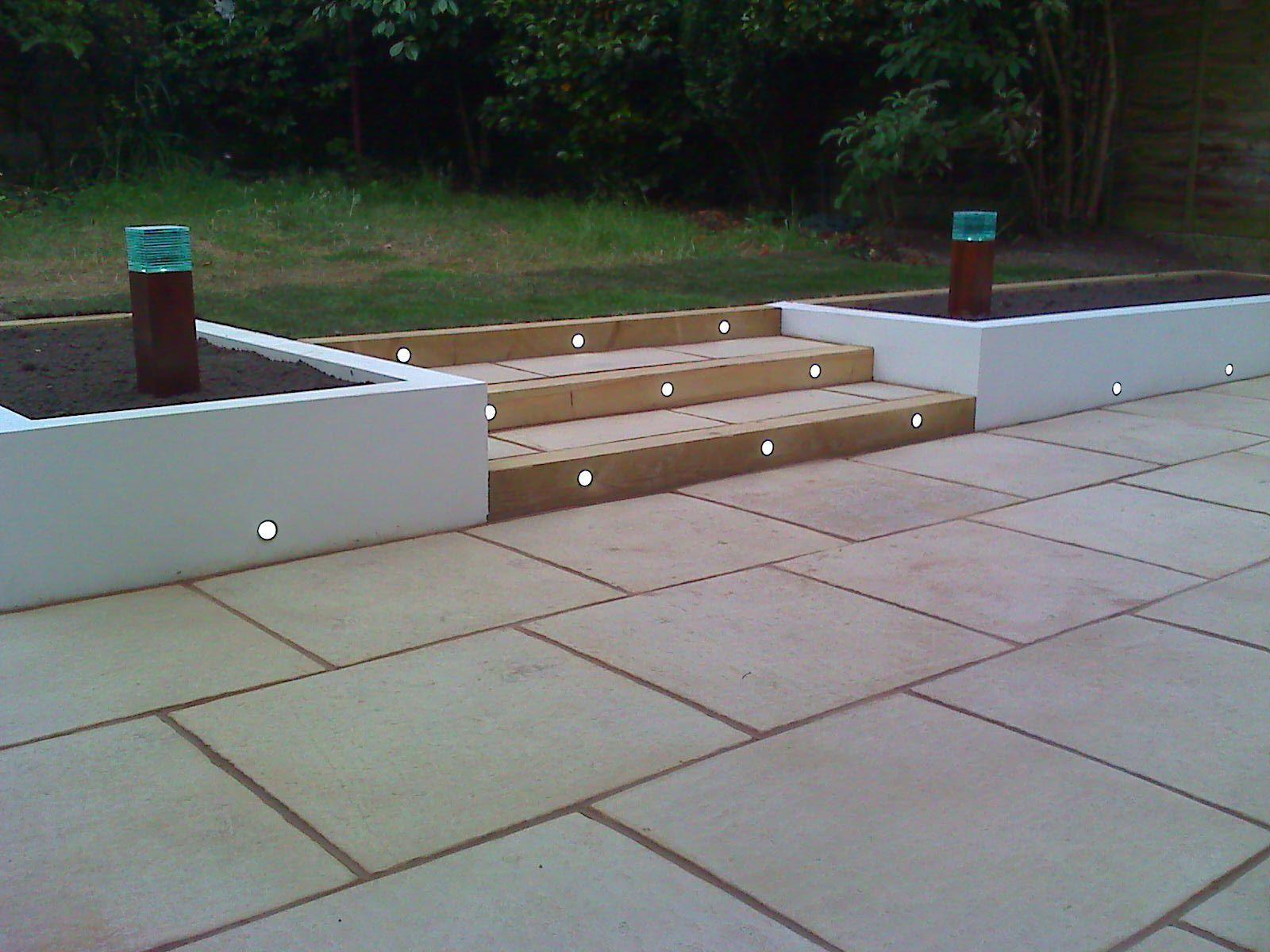 Lighting In Rendered Wall Garden Wall Lights Patio Garden
