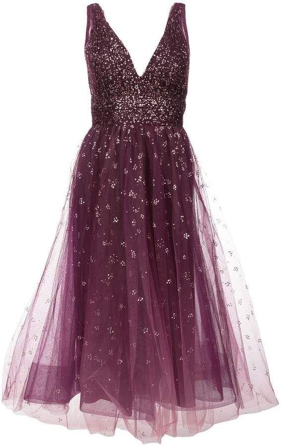 682099f10480 Marchesa Notte Plunge Neck Foil Dress - Farfetch