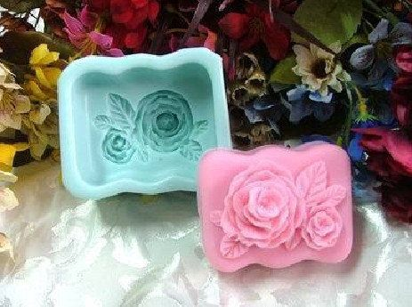 Rose Oblong Soap Mould Flexible Silicone Cookie Mold by skullmold