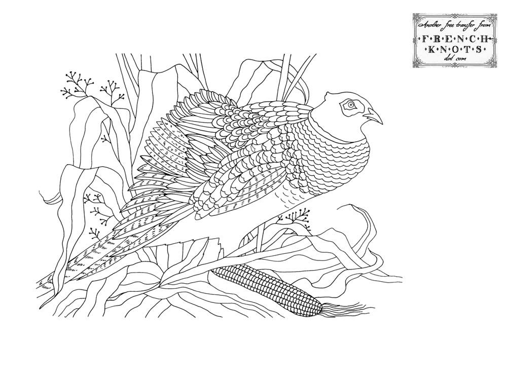 Beautiful Pheasant Embroidery Transfer Pattern Animal Embroidery