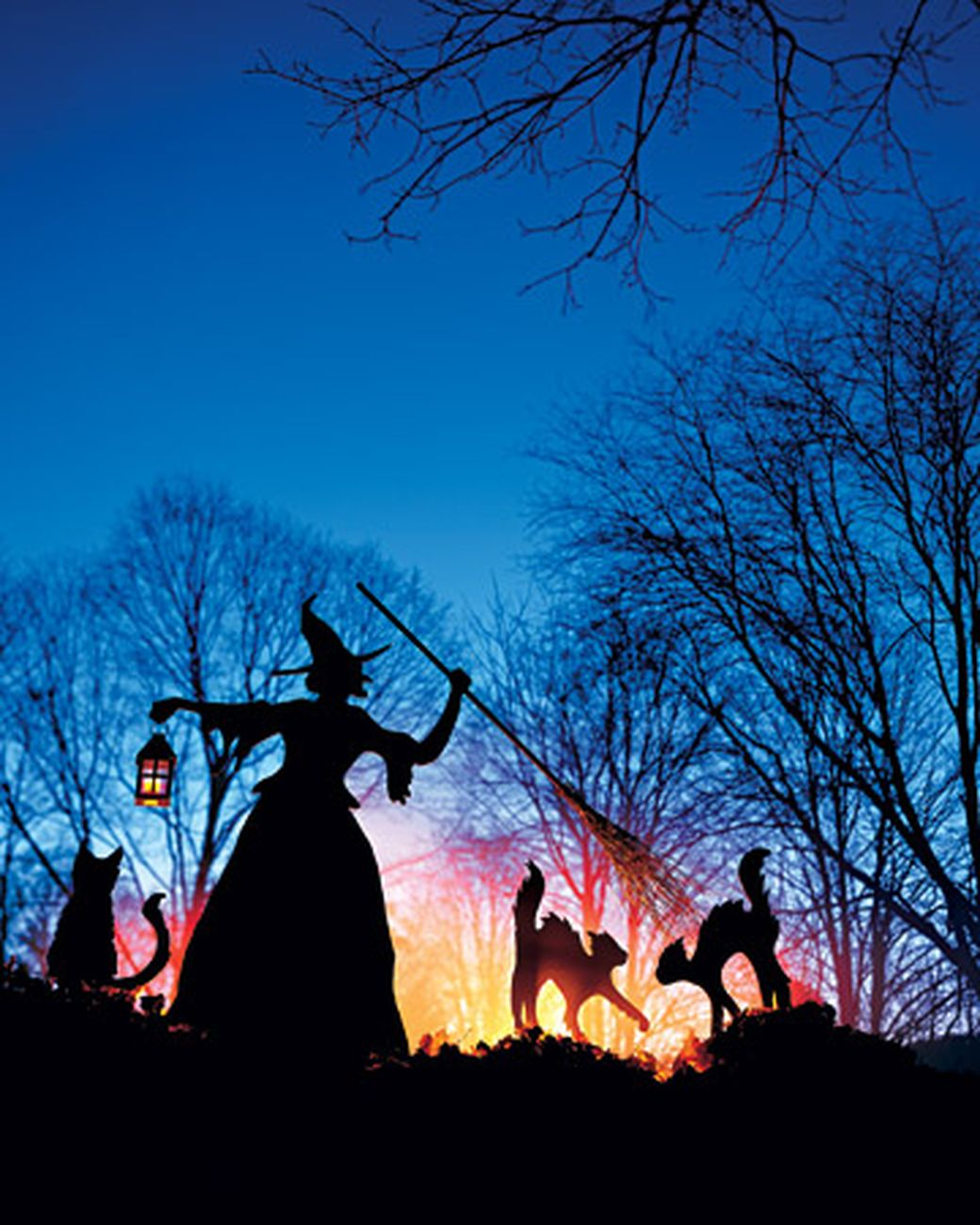 witch and cat lawn ornaments martha stewart living cast a spooky spell on your cheap halloween decorationsyard