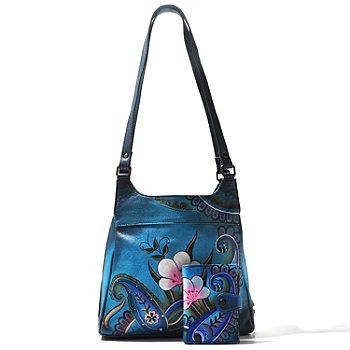 Anuschka Hand Painted Leather Zip Top Triple Compartment Satchel W Wallet