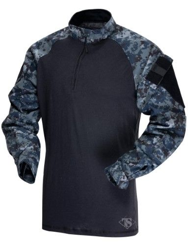 7bbf3526f tru spec 14 zip combat shirt long sleeve midnight navy digital mens poly  cotton 2xll, Midnight Digital Camo