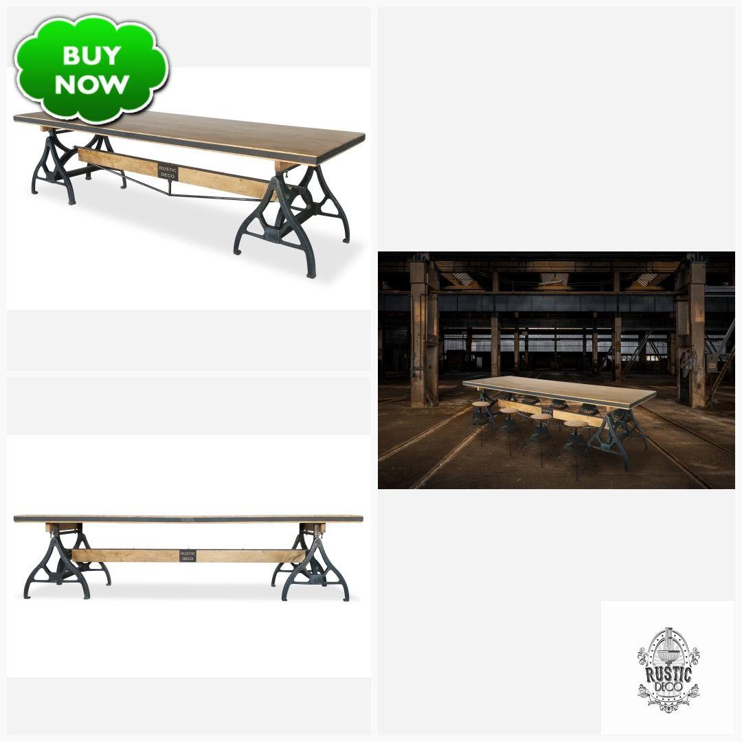 Industrial Sawhorse Conference Table - Iron Base - Wood Beam #decopunk #vintageindustrial #steampunk #dieselpunk #midcentury #rusticdeco #industrialfurniture