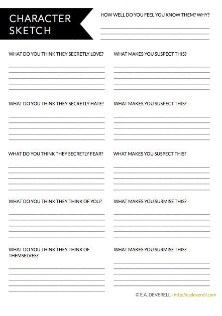character sketch writing worksheet …  writing printables