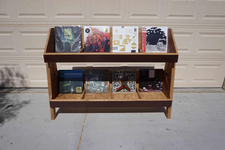 Walnut Vinyl Record Stand, Lp Storage, Flip Foward Shelving ...