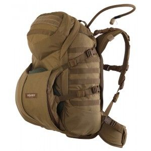 Source | Double D Pack - 45L. Contoured shoulder straps. Removable hip belt. Wand pockets. Top load and panel load. Angled top lid for prone comfort. Radio carrier. Antenna and hydration ports.