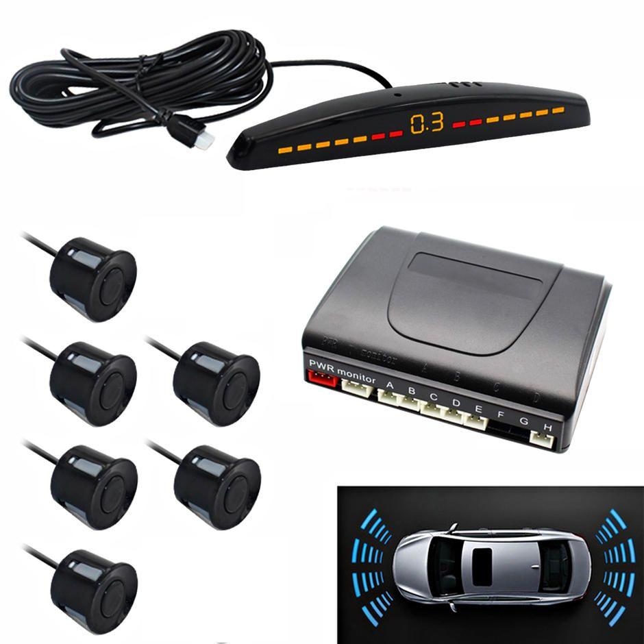 22mm 6pcs Parking Sensor System With Led Display Reverse System Pz309 6 In 2020 Car Led Sensor Car Camera