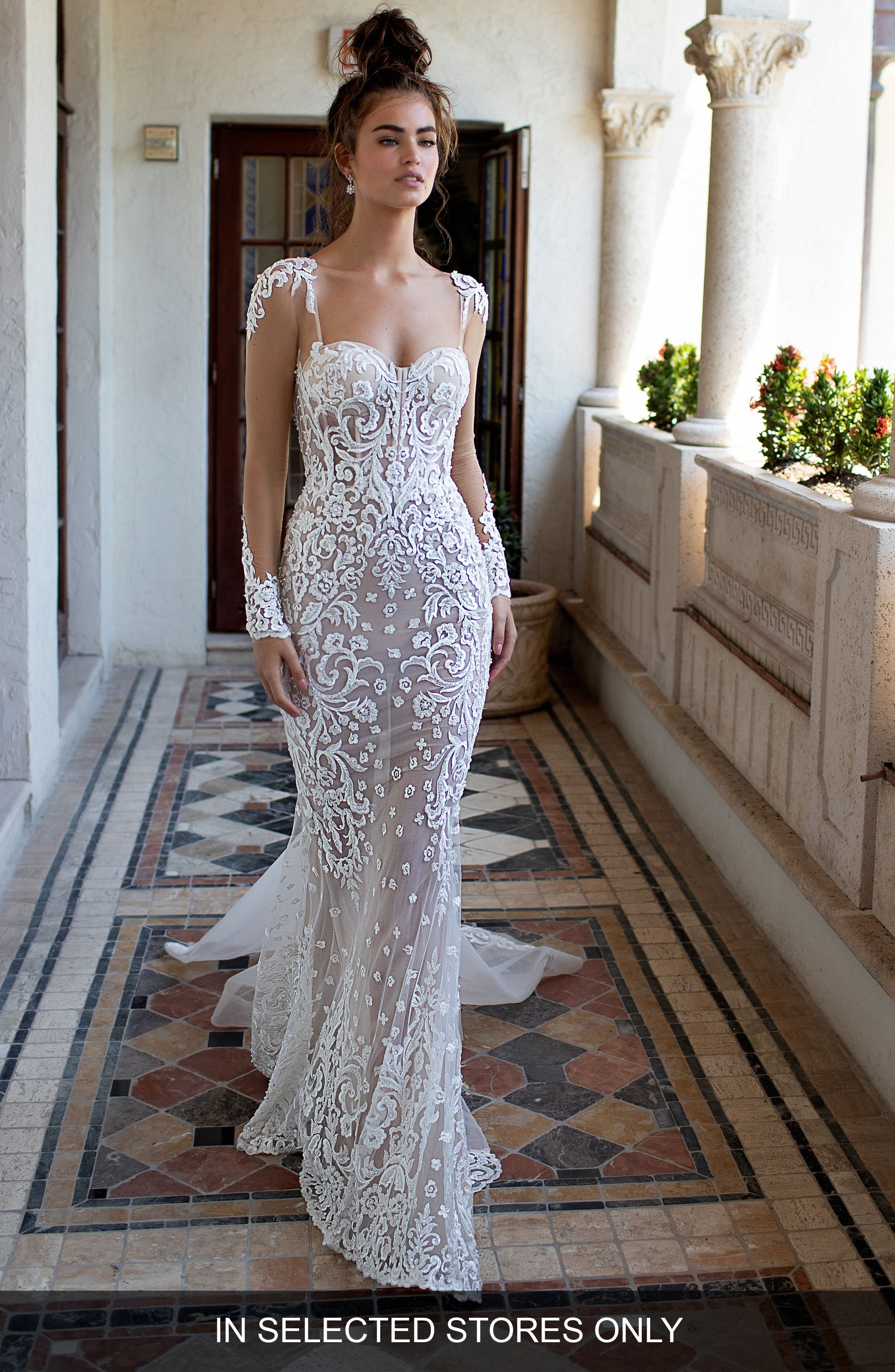 225777bb1cd Illusion Sleeve Embroidered Trumpet Gown BERTA  nordstrom  ad ...
